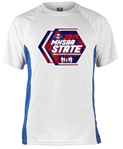 Short Sleeve White Performance With Blue Side Insert