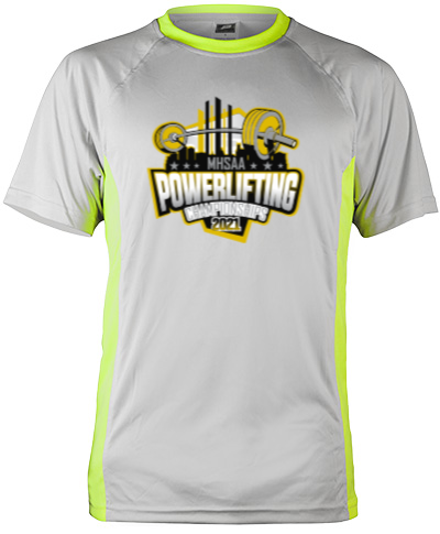 Short Sleeve Gray Performance With Neon Green Insert